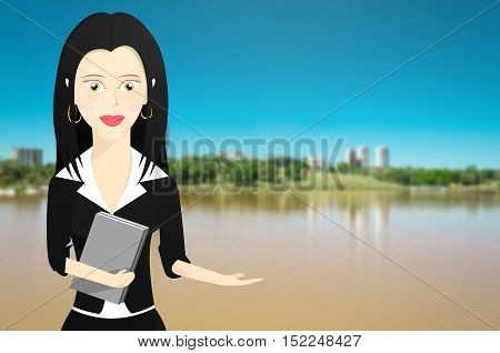 Business woman formally dressed and holding a book. Woman with outstretched hand pointing to right with a lake and nature from a park background.