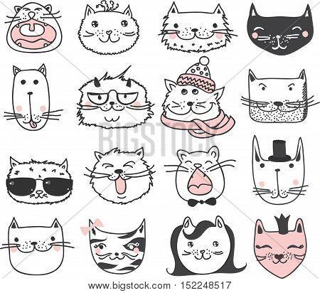 Set of 16 Vector doodle cute cats avatars