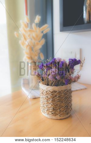 Dried flower in vase Bouquet of dried flowers in vase. Dried flower for interior decoration. Interior object(vintage effectselective focus)