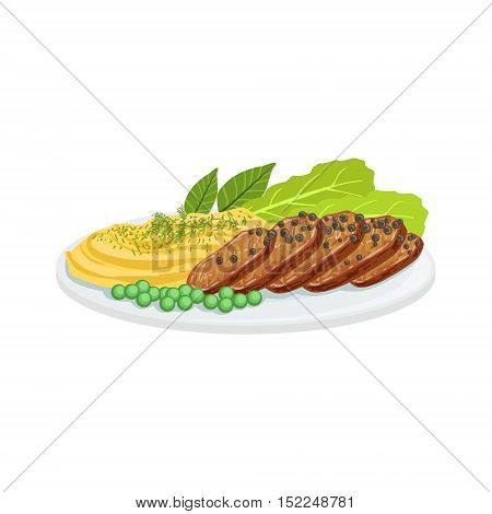 Pepper Meat European Cuisine Food Menu Item Detailed Illustration. Cafe Dish In Realistic Design Vector Drawing.