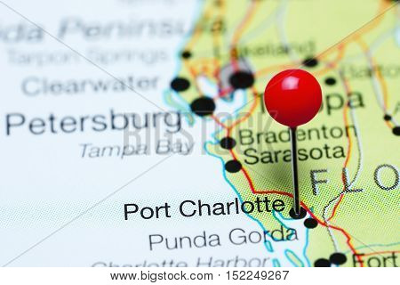 Port Charlotte pinned on a map of Florida, USA