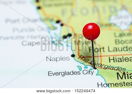 Everglades City pinned on a map of Florida, USA