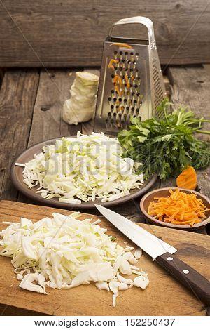 Sliced White Cabbage For Preparing Salad Or Sauerkraut