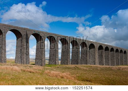 Famous Ribblehead Viaduct in the Yorkshire Dales on a sunny day England