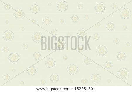 Christmas vector with snowflakes in gentle tones on yellow background. Seamless festive pattern. Horizontal.