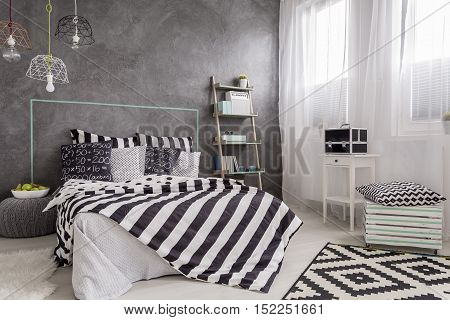 Cosy Bedroom Interior With A Double Bed