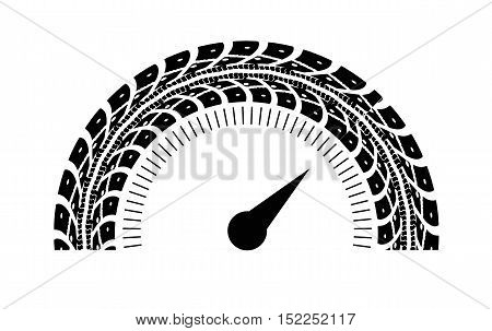 Speedometer vector illustration. Styling by tire tracks. Vector illustration