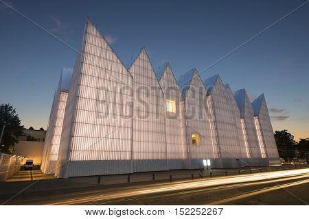 Szczecin,Poland-July 2106:Futuristic office building in Szczecin Philharmonic