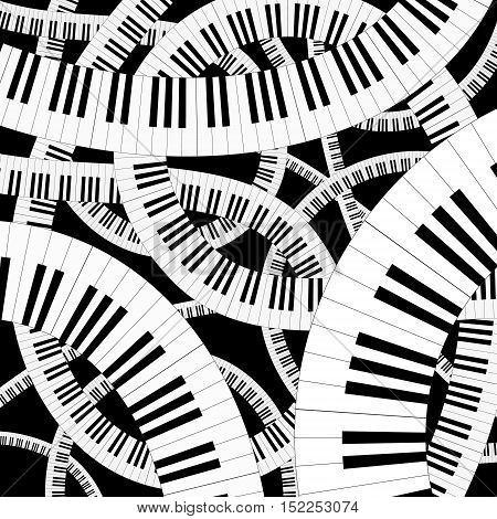 Curved piano keyboard vector illustration. Wavy piano vector background