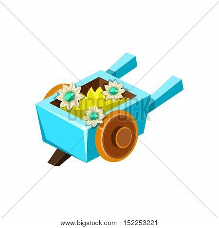 Decorative Wheel Barrel Isometric Garden Landscaping Element. Video Game Landscape Constructor Item In Cute Colorful Design Isolated On White Background.