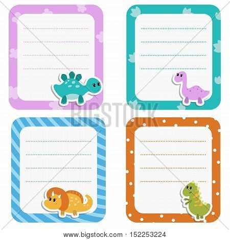 Set of cute creative cards with cartoon dinosaurs. Vector design templates for greeting cards flyers posters etc.