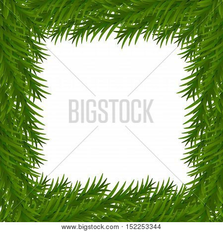 Merry Christmas and Happy New Year greeting card with Christmas decor fir twigs. White and green colors Vector illustration. EPS 10