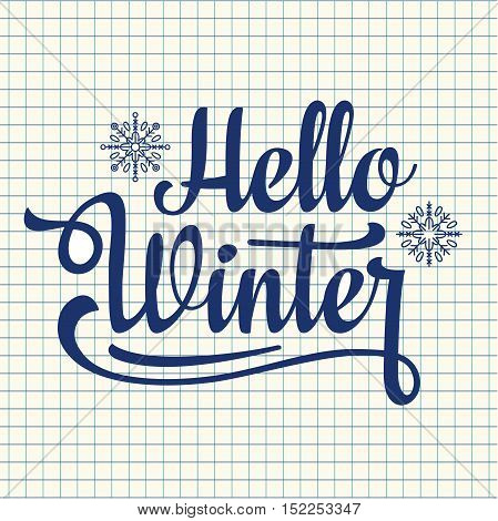 Hello winter text. Holiday background. Text retail message. Best for sale banner. Vector