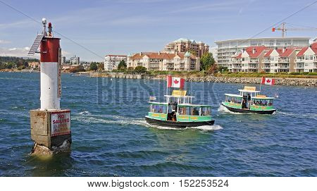 Victoria, Canada - August 27, 2016: Harbour Taxi Ferry On 27 Aug