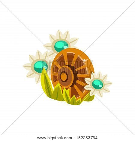 Decorative Wooden Wheel Isometric Garden Landscaping Element. Video Game Landscape Constructor Item In Cute Colorful Design Isolated On White Background.