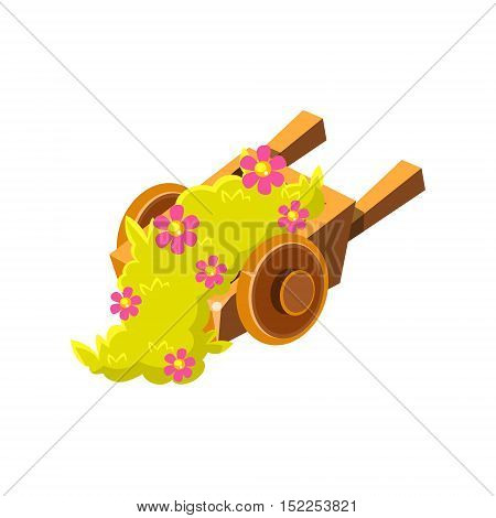 Decorative Wooden Wheel Barrel With Flowers Isometric Garden Landscaping Element. Video Game Landscape Constructor Item In Cute Colorful Design Isolated On White Background.