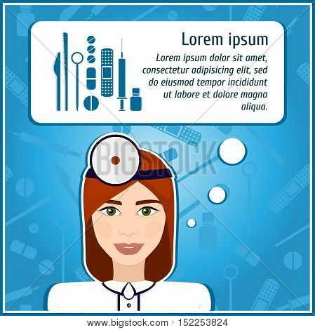 Vector illustrations of a woman doctor. Doctor. The girl's face. Icon. Flat icon. Minimalism. The stylized girl. Occupation. Job. Uniforms, cap. Medical instruments, scalpel, syringe.