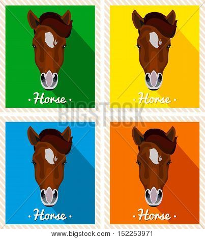 Vector portrait of a horses. Symmetrical portraits of animals. Vector Illustration, greeting card, poster. Icon. Animal face. Font inscription. Image of a horses face. A brown horse with a mane.