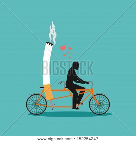 Lover Smoke. Man And Cigarette On Bicycle. Smoker On Tandem. Nicotine Lovers Ride Bike. Romantic Ill