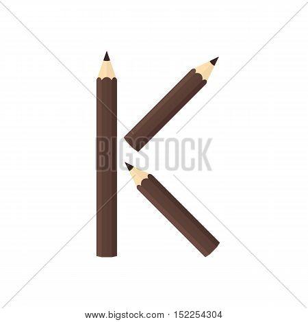 Color Wooden Pencils Concept By Rearrange The Letters K