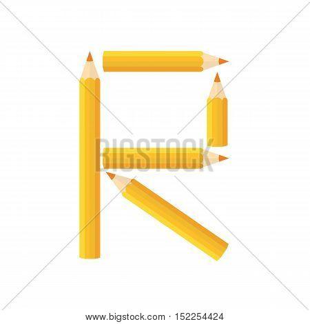 Color Wooden Pencils Concept By Rearrange The Letters R