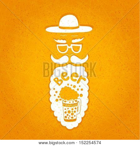 A bearded man with a mustache, glasses and a stylish hat. Typographic composition in his beard. The stylized face with a beard. Big curly beard beer. Figure mugs of beer. Hand drawing.
