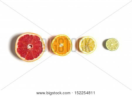 Sliced citrus isolated on white. Cut lemon, orange, grapefruit and lime in row. Different kinds of citrus top view