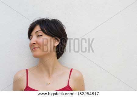 Profile of a Young Woman With Her Head Turned Left