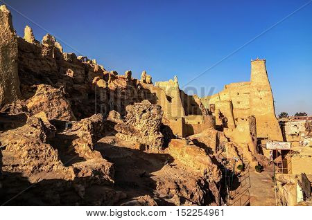 View of Shali old city ruins in Siwa oasis Egypt