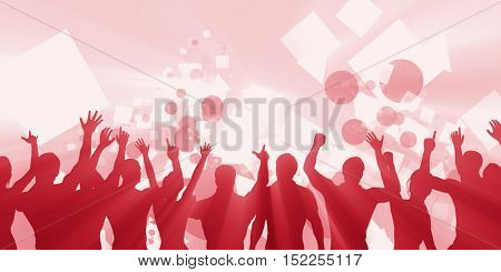 Party Background with a Crowd Cheering Silhouette Abstract 3d Illustration Render