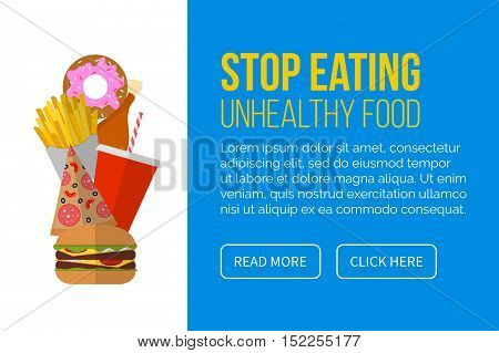 Stop eating unhealthy food - banner with set of junk food. Stop fast food for healthy life. Vector illustration