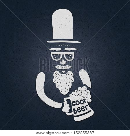 A bearded man with a mustache, glasses and a stylish hat cylinder. A mug of beer in his hand. The stylized face with a beard. Big curly beard beer. Figure mugs of beer. Hand drawing.