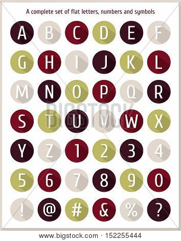 Large flat set of letters of the alphabet, numbers and symbols. Small colored flat icons with shadows. Flat colorful letter of the alphabet. Flat icons alphabet. Vector illustration.