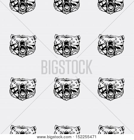 Pattern bear head, icon. Repeated, seamless, hand drawn. Black background. T-shirt, textile print
