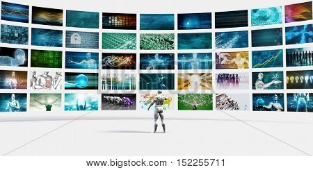 Man Pointing at a Video Wall Filled with Screens 3d Illustration Render