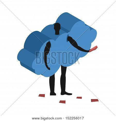 Cloud Costume Man Mascot Promoter. Male In Suit Distributes Flyers. Puppets Swarm Engaged In Adverti