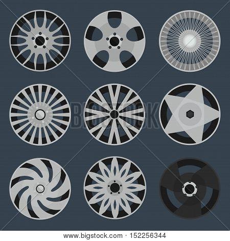 set of different wheel rims, vector illustration