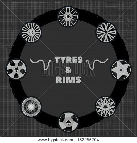 tyres and rims on an abstract background
