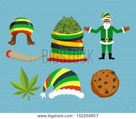 Rasta New Year Icons Set. Santa Claus And Big Sack Hemp. Bag Of Marijuana. Pile Of Green Cannabis. L