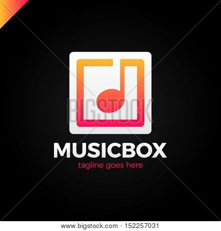 Square Abstract Music Note Vector Logo Icon. This Logotype Graphic Also Represents Music Industry, D