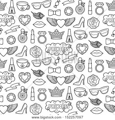 Princess fashion Seamless Pattern. Vector Pin badges set. Coloring page stickers collection. Appliques for denim or clothes. Patches background