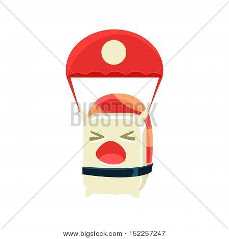 Kamikaze Funny Maki Sushi Character. Silly Childish Drawing Isolated On White Background. Funny Creature Colorful Vector Sticker.