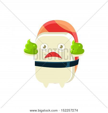 Funny Maki Sushi Character With Two Poops Of Wasabi. Silly Childish Drawing Isolated On White Background. Funny Creature Colorful Vector Sticker.
