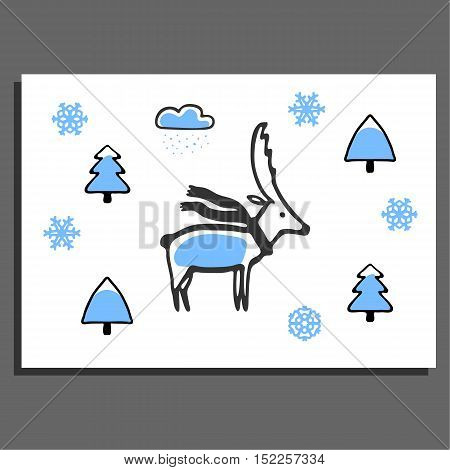 Greeting card with deer with scarf and winter illustrations. Cute cartoon childish design. Doodle trees and snowflakes
