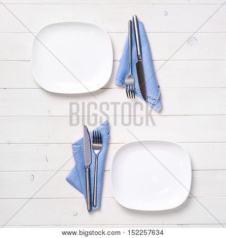 beautiful table serving for two persons, top view