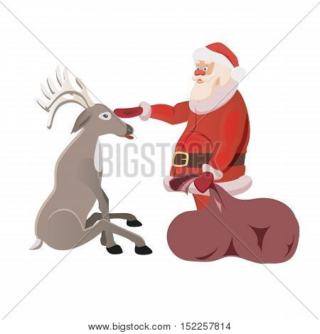 vector christmas illustration of santa claus and nosed reindeer