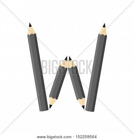 Color Wooden Pencils Concept By Rearrange The Letters W