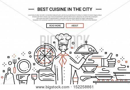 Illustration of vector modern plain line flat design website banner, header with professional cooker holding dishes