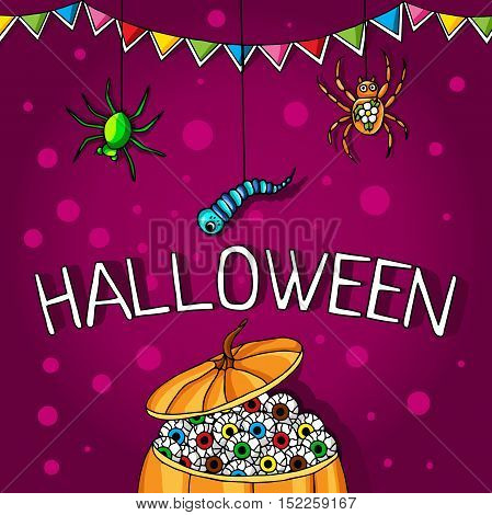 Postcard, poster for Halloween. Holiday magic, spiders, worms, spider webs. The flags for decoration. Decorative elements. Big pumpkin with human eyes.