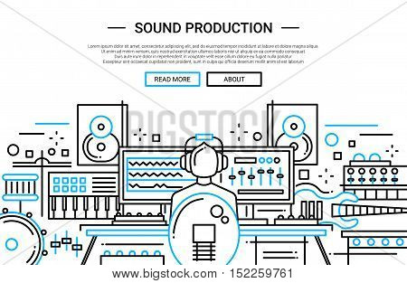 Illustration of vector modern simple line flat design website banner, header with a sound producer at work among different music equipment
